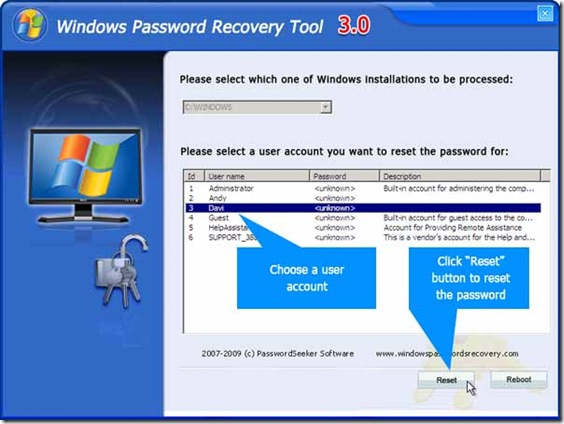 win 7 password recovery